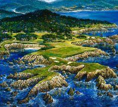 "PEBBLE BEACH"" painting by ROBERT LYN NELSON  2003 Acrylic/canvas  @robertlynnelson.com"