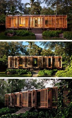 An Architect's Own Tropical Refuge In Miami - Brillhart Architecture have designed and built a home for themselves in Miami, Florida, that includes 100 feet of uninterrupted glass. - Panissue Share dream home in the forest Architektur Container Home Designs, Tropical Architecture, Interior Architecture, Bamboo Architecture, Container Architecture, Architecture Student, Florida Home, Miami Florida, Casas Containers