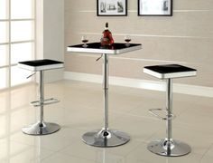 Tita Black Top ABS Height Adjustable Bar Table A contemporary black finish piece, perfect addition to any breakfast nook, or bar. Strongly built with ABS, and chrome base. Color may slightly different from the pics.. Dimension: 23L X 23W X 27.25H.  #FurnitureMaxx #Home