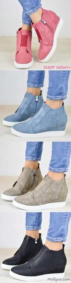 $38.99 USD Sale! SHOP NOW! Free Shipping Comfort Zipper Wedge Sneakers Plus Size Wedges with Side Zipper