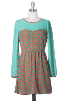 Modcloth In all Fairness Dress, Blue, Brown, Long Sleeve, Polka Dot, Casual #ModClothStyle #Casual