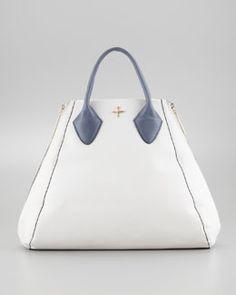 Pour la Victoire Yves Medium Tote Bag, White