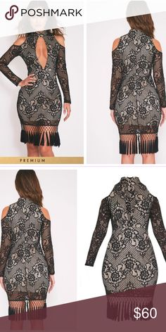 Black lace tassel dress Too big for me and the return process is to much. Very cute new with tags!. Size 10 in UK and its from UK so the dress is labeled as a 10 but it is a US 6 Dresses Midi