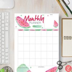 Our watermelon printables are mouth wateringly good. This monthly planner / calendar is perfect for home. Display it on the wall or in a binder to track your activities each month.