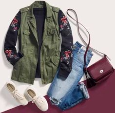5edfbe3475e Pair a tough cargo vest with a flirty floral top   your favorite sneaks.  Love the sleeves on this sweater to pair with my cargo vest!