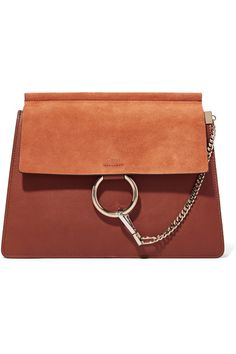 Brown leather, tan suede (Calf) Snap-fastening front flap Designer color: Tobacco Comes with dust bag Weighs approximately 2lbs/ 0.9kg Made in Italy