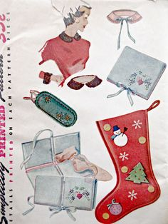 Vintage Simplicity 4519 Sewing Pattern, Collars and Cuffs, Christmas Stocking, Eyeglass Case, Hankie Case, 1950s Sewing Pattern, Accessories by sewbettyanddot on Etsy