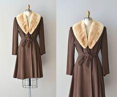 Four Corners coat  vintage 1940s coat  fur collar by DearGolden, $375.00