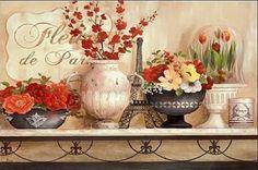 Nan-Fleurs-de-Paris-Keilrahmen-Bild-Leinwand-Blumen-Garten-Deko-Landhaus