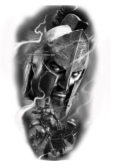 La mã đấu sĩ Native Tattoos, Warrior Tattoos, Viking Tattoos, Leg Tattoos, Sleeve Tattoos, Tattoos For Guys, Cool Tattoos, Sparta Tattoo, Portrait Tattoo Sleeve
