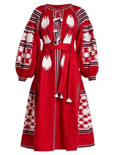 womens bohemia eagle embroidery maxi full length dress loose v neck summer new Red Midi Dress, Dress Skirt, Tassle Dress, Midi Dresses, Hijab Dress, Long Linen Dresses, Dress Long, White Embroidered Dress, Geometric Dress