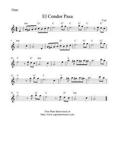 Free Sheet Music Scores: El Condor Pasa, free flute sheet music notes