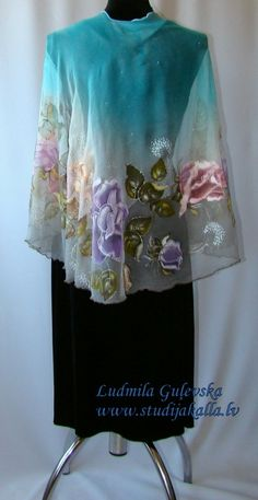 Natural silk poncho wrap floral turquoise gray by Studijakalla