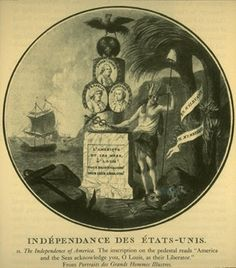"Allegory of Louis XVI being praised by America as ""their Liberator"", 1770's engraving"