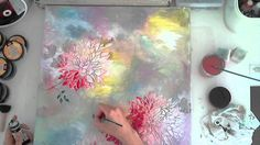 """Mixed Media Tutorial """"Colorful Bloome"""" - Stencil Art made by Stephanie Schütze for Donna Downey Artist Gang. More of Donna Downey Artist Gang here: https://w..."""