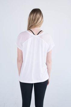 Zobha's Irena Mesh Back T in White #activewear #tshirt #white #fashion
