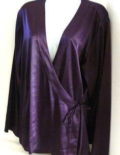 CHICO'S Eggplant Purple Satin Wrap BLOUSE Shirt Top Ladies Size 3 Large L #Chicos #Wrap #Casual