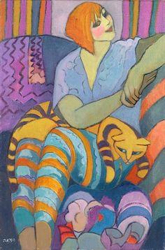 una vida llena de color y gatos, ilustración de Lassen Jeanette