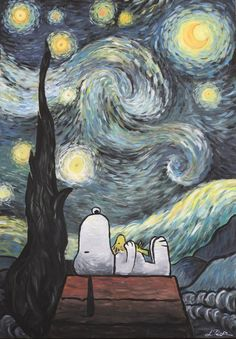 """""""Snoopy and Woodstock are watching the stars"""" Acrylic on canvas / / about 4 hours This was a Christmas gift for my boyfriend. He likes Snoopy and Van Goghs """"Stairy Night"""", so I combined th. Snoopy Love, Charlie Brown And Snoopy, Snoopy And Woodstock, Images Snoopy, Snoopy Pictures, Peanuts Cartoon, Peanuts Snoopy, Snoopy Wallpaper, Image Beautiful"""
