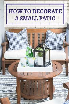 How To Decorate a Small Patio You'll Love - Inspiration For Moms Are you intimidated by a super tiny front porch? I'll show you how to decorate a small patio beautifully with just a few basic accessories! Small Patio Design, Pergola Design, Small Patio Decorating, Budget Decorating, Yard Design, House Design, Budget Patio, Small Patio Ideas On A Budget, Parasols