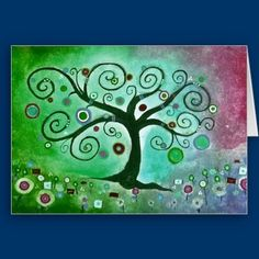 I love bright, bold colors and happy sentiments.  Tree of Life fine art painting inspired by Gustov Klimt, painted by Kerra Lindsey of http://www.icansketchu.com