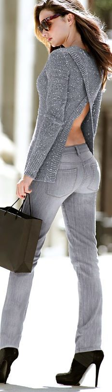 Grey gorgeous sweater and grey pants with black high heels