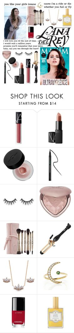 """""""Magazine Inspired Lana Del Rey Beauty Guide"""" by nmnightmarex ❤ liked on Polyvore featuring NARS Cosmetics, MAKE UP FOR EVER, Sephora Collection, Too Faced Cosmetics, PRO Beauty Tools, BERRICLE, EF Collection, Børn, Chanel and Annick Goutal"""