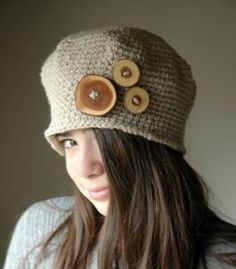 Tween's crochet hat with wood button accents byTeaPartyHats