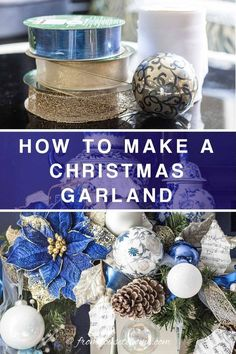 Learn how to make this gorgeous blue and white Christmas fireplace garland. All of the ornaments make the mantle look beautiful. #fromhousetohome #christmas #DIYChristmas #Xmas #fireplace #christmasdecor Christmas Fireplace Garland, Diy Christmas Garland, White Christmas Trees, Christmas Mantels, Fireplace Mantle, Xmas, Christmas Christmas, Christmas Ideas, Fireplace Decorations