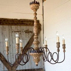 Our Grand Shabby Chic Charlotte Chandelier is the definition of old-world sophistication. Visit Antique Farmhouse today for more rustic chandeliers and vintage style! Wooden Chandelier, Farmhouse Chandelier, Lantern Chandelier, Wooden Lanterns, Farmhouse Lighting, Chandelier Makeover, Kitchen Chandelier, Vintage Chandelier, Porch Pendant Light