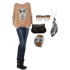 A collage from Polyvore, owl stuff with jeans