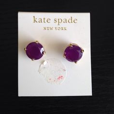 Kate Spade Purple Gumdrop Earrings Never been worn Kate Spade Gumdrop Earrings! Small square stud in purple. Come with backing. kate spade Jewelry Earrings