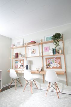 This desk system from Ikea fits this room perfectly and provides storage.