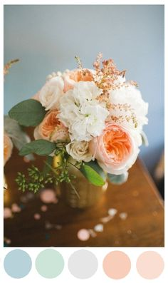 Blush and Seafoam in florals? Yes Please! http://www.satinandsnowflakes.com/?p=2837
