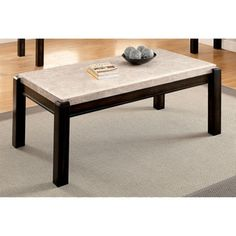 Furniture of America Leslie Genuine Marble Top Coffee Table - Free Shipping Today - Overstock.com - 18598023 - Mobile