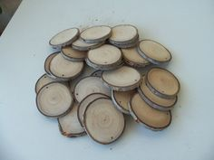 NEW - Wood Slices - 25 Blank White Tree Branch slices,Drilled - Tags Supplies - Wedding Supplies - Jewelry Supplies - 2 in diameter- Tree Branch Crafts, Tree Branches, Wooden Slices, Woodworking Saws, Wedding Decorations, Christmas Decorations, Wood Tags, Table Design, Wood Candle Holders