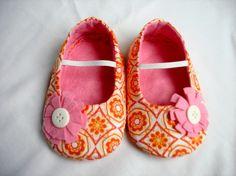 Orange Baby girl shoes Felt Baby shoes Baby Fabric by joojoocraft, £16.99