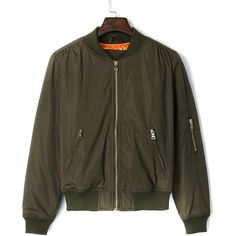 Choies Military Green Long Sleeve Padded Bomber Jacket ($38) ❤ liked on Polyvore featuring outerwear, jackets, green, flight jacket, green bomber jacket, bomber jacket, olive jacket and bomber style jacket