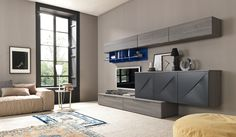 Sectional TV wall system SMAIL by SMA Mobili