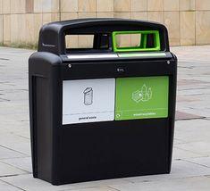 Unidad de reciclaje para zonas exteriores, con 2 aberturas codificadas por colores según conceptos de reciclaje. Canning, Recycling Bins, Outer Space, Unity, Colors, Home Canning, Conservation