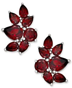"""Glistening pear-and round-shape rhodolite garnets create a vine-inspired silhouette on these drop earrings set in sterling silver. Approximate drop: 7/8"""".   Photo may have been enlarged and/or enhance"""