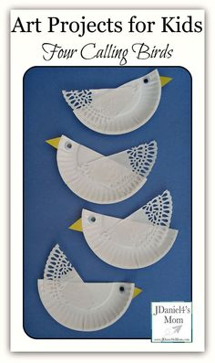 Art Projects For Kids- Four Calling Birds Four Calling Birds Paper Plate Craft- Fun craft works on cutting skills. Paper Plate Art, Paper Plate Crafts, Paper Plates, Paper Doilies, Projects For Kids, Diy For Kids, Art Projects, Crafts For Kids, Bird Crafts
