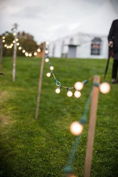DIY light fixtures for an outdoor evening wedding reception #outdoorwedding #reception