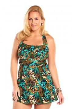 4b4b1cf580 Always For Me Sea Glass Plus Size Swimdress-IO721-Brown-Aqua Women s  Swimsuits