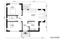 proiecte de case mici pe un singur nivel Small single level house plans 7 Two Bedroom, Bedrooms, House Plans, Floor Plans, Flooring, How To Plan, Dining, Building, Projects