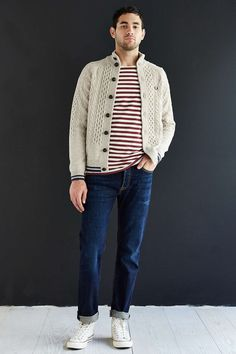 Fred Perry Tipped Sailor Cardigan - Urban Outfitters · #Fashion Pins at https://www.pinterest.com/zivtzi/yeah-ill-wear-that-mens-fashion-mens-shirts-t-shir/