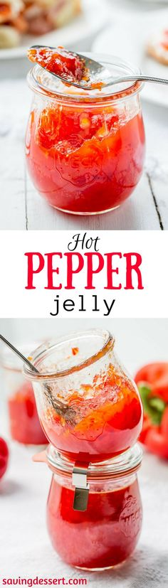 Hot Pepper Jelly ~ spicy, hot red cherry peppers and sweet red bell peppers combine in this easy and delicious jelly ... perfect for the season! savingdessert.com #savingroomfordessert #hotpepperjelly #appetizer #jelly #redpepper