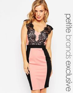 Paper Dolls Petite | Paper Dolls Petite Pencil Dress With Lace Plunge at ASOS