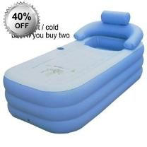 Hot Cold Inflatable Folding Portable Spa Bath Tub - Inflatable - 45 Degrees Max Temperature - Pump Included
