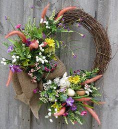 Woodland Meadow Easter Bunny Wreath by NewEnglandWreath on Etsy